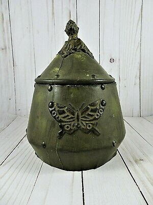 Vintage Wooden Storage Vessel Faux Leather Clad Chain Attached Lid Applied Tin