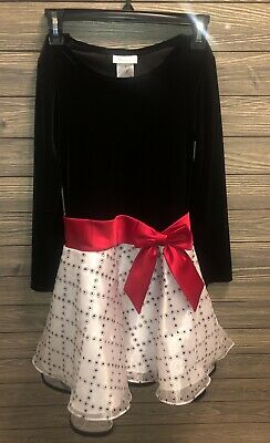 girls size 10 Bonnie Jean Christmas Holiday Dress long sleeve velvet black white