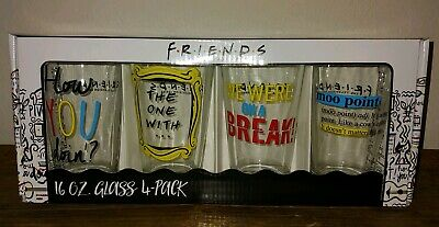 NEW Friends TV Series Set of Four 4 Glassware 16oz Pint Drinking Glasses