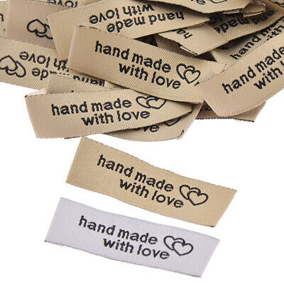 50Pcs Handmade With Love Cloth Labels For Garment Bag Sewing Tags Accessories