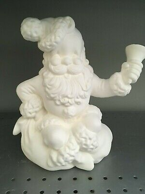 Vintage 1960 Atlantic Santa Claus Ringing Bell Christmas* Ceramic Bisque