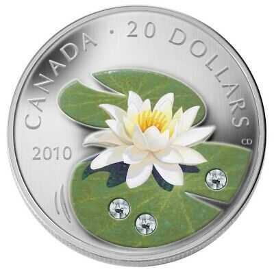 CANADA $20 2010 Silver Proof 'Crystal Water Lily' w/Swarovski Element Box/CoA