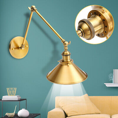 Retro Vintage Brass Funnel Wallmount Light Wall Sconce w/Long Swing Arm Lamp