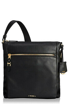 NWT TUMI Voyageur Canton Leather Crossbody Bag BLACK Great For Travel AUTHENTIC