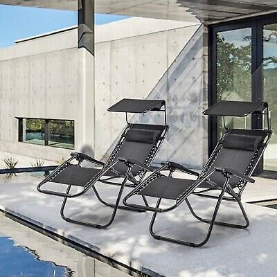 Set of 2 SunLounger Garden Outdoor Foldable Zero Gravity Reclining Chairs UK