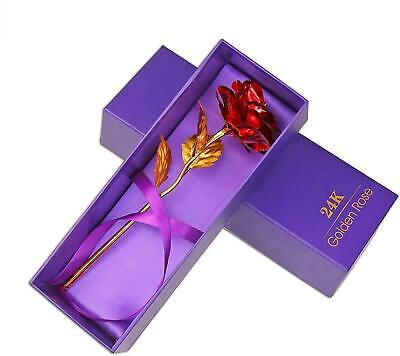 24K Gold Rose Dipped Flower Real Long Stem  in Box Valentine's Day Love Gifts