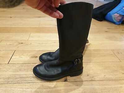 Girls Black Leather Tall Boots by Clarks Size 2, euro 35.