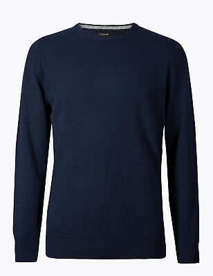 Marks And Spencer M&S Marks Pure Cashmere Crew Neck Jumper Midnight Navy L Bnwt