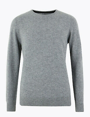 Marks And Spencer M&S Marks Pure Cashmere Crew Neck Jumper Grey Marl Small Bnwt