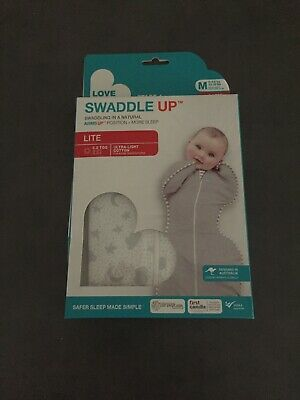 NEW Love to Dream SWADDLE UP LITE 0.2TOG - GREY- MEDIUM SIZE- STARS, MOON, CLOUD
