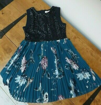 Nwt Ted By Ted Baker Girls Age 9-10 Navy Mock Pleat Dress