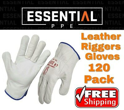120 Pack Genuine Full Grain Leather Riggers gloves Cow Hide