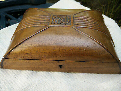 Vintage Small Walnut Card or Jewellery Box With an intial EMC , Lock No Key