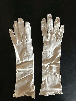 """Vintage White Real French Kid Leather Gloves Long 16"""" Opera / Evening Gloves"""