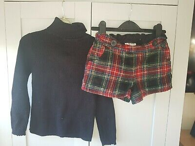 Next Girl Age 4-5 Tartan Check Shorts Asda Black Polo Top