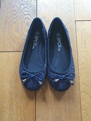 Girls Navy Glitter Party Shoes Size 12 great condition
