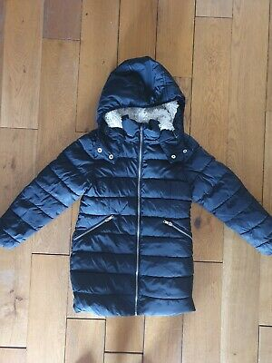Girls Age 7 Next Black Winter Coat With Fleeced Lining great condition!