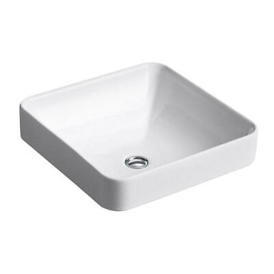 Vox Vitreous China Vessel Sink in White with Overflow Drain