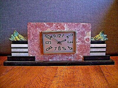 Antique 1920s French Marti Art Deco Solid Marble Mantel Clock (Rose Black White)