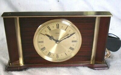 Vintage 1960-70s METAMEC Rare Mains Brass & Mahogany Mantle Clock, Restored.
