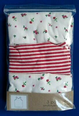 Girls NEXT 3 Pack Vests Set Age 2 3 Years Rose Floral Pink Red White NEW