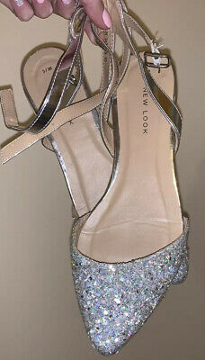 New Look Silver Glitter shimmer Flat Shoes, UK Size 5