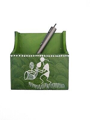 Indian Handmade Wooden Pen Stand And Paper Weight waling painting