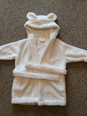 Next Girls White Sparkle Dressing Gown Robe With Bear Ears 3-4 Years