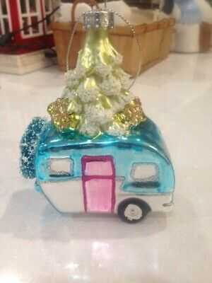 Retro Glass RV Camper Trailer W Tree and wreath Christmas Ornament - Teal Blue