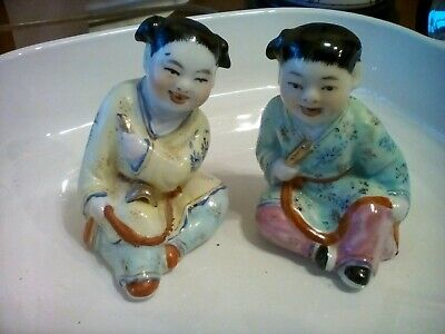 Antique Chinese famille rose Figurines Children