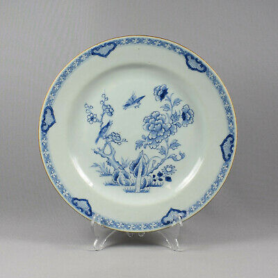 Chinese Blue & White Porcelain Plate - Birds & Flowers - Qing