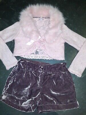 Monsoon girls bolero & Next Girls Crushed Velvet shorts, Age 8 Yrs