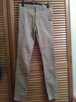new next mens boys stretch chino size 28L stone / tan super skinny