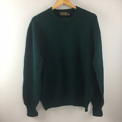 Vtg Brooks Brothers Scotland 100% Shetland Wool Crewneck Sweater Green Mens 44
