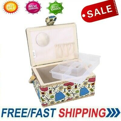 Lovely Needle Thread Sewing Basket Tool Household Storage Box Rectangle Craft