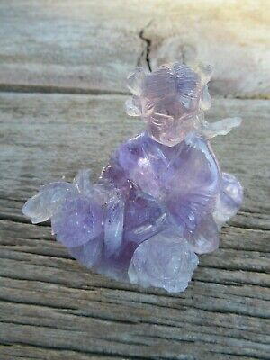 Vintage Chinese Carved Amethyst Figure Woman with basket