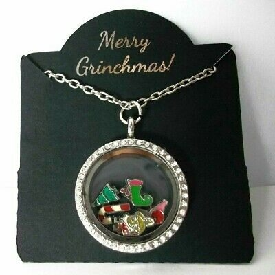 New Floating Necklace with GRINCH, MAX, CINDY LOU WHO, Christmas Tree, Stocking