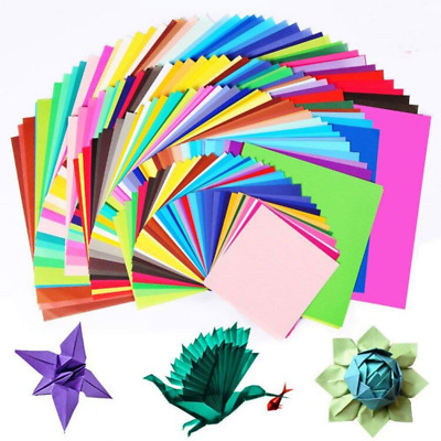 50pcs Square Origami Paper Single Side Glitter Folding New Solid Papers Col C2U9