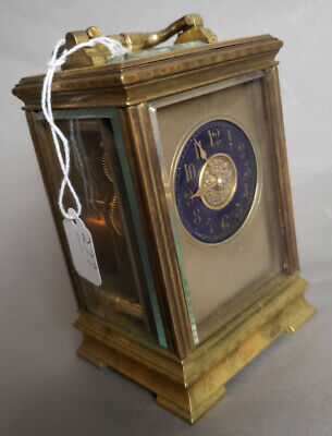 """ Caldwell & Co. "" French Carriage Clock with Dark Blue Porcelain  Dial - Brass"
