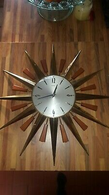 ORIGINAL, VINTAGE, 1960's, METAMEC, BRASS STARBURST/SUNBURST HANGING WALL CLOCK