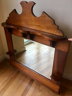 Victorian art nouveau Arts & Crafts  Solid mahogany Bevelled overmantel mirror