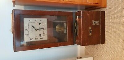 Vintage Railway Clocking In Clock with Original Cards and Key.