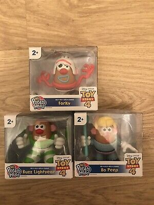 3 X Disney Pixar Toy Story 4 Mini Mr Potato Head Figure - Bo, Buzz & Forky
