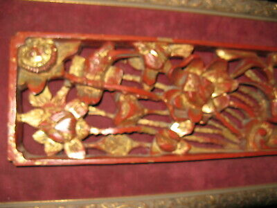 Beautiful Chinese Antique Panel Gilt Carved Wood with Birds & Flowers 18th-19th