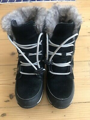 Girls Navy Blue Sorel Winter Fur Lined Snow Boots Size 1