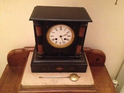 A French Slate and Marble Mantle Clock with Gilt Decoration Circa Late 19th C.