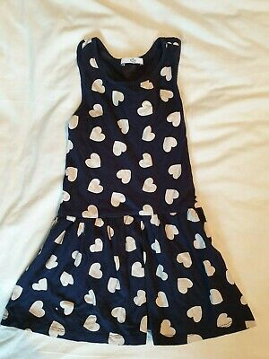 Marks and Spencer (M&S) girls navy with hearts dropped waist dress age 4-5
