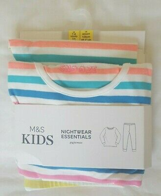 BNWT Marks and Spencer (M&S) kids stripy/striped pyjamas / pajamas age 7-8