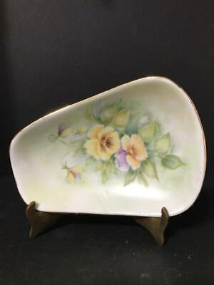 Small Triangle Dish Handpainted with Beautiful Handpainted Flowers Artist Signed