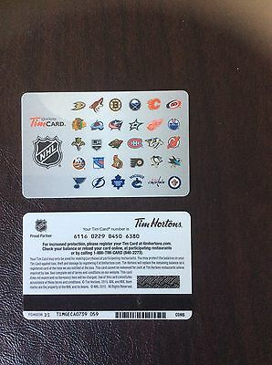 Tim Hortons 2015 NHL TEAM LOGO   Featuring 30 Teams.  Gift Card Mint Condition.